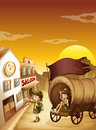 A wagon with kids near a saloon illustration of Royalty Free Stock Photography
