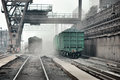 Wagon at unloading the photo was made ​​in a steel plant located in ukraine Stock Image