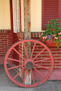 Wagon wheel and flower box Berkshires MA Royalty Free Stock Photo