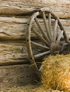 Wagon Wheel and Hay Bale Stock Image
