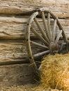 Wagon Wheel and Hay Bale Royalty Free Stock Photo
