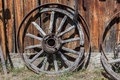 Wagon wheel old rustic front view Royalty Free Stock Image