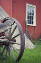 Wagon Wheel Red Building Royalty Free Stock Photo