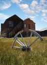 Wagon wheel in rural setting Royalty Free Stock Photo