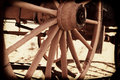 Wagon wheel of a western cowboy made of wood Stock Photo