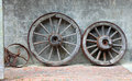 Wagon wheels from the past Royalty Free Stock Photo