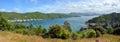 Waikawa Bay & Marina Panorama, Marlborough Sounds, New Zealand. Royalty Free Stock Photo