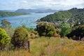 Waikawa bay marlborough sounds hilltop view queen charlotte sound new zealand Royalty Free Stock Image
