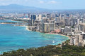 Waikiki Beach and the city of Honolulu, Hawaii Stock Photography