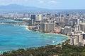 Waikiki Beach and the city of Honolulu, Hawaii Royalty Free Stock Photo