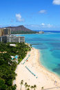 Waikiki Beach and Diamond Head in Hawaii Royalty Free Stock Photo