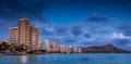 Waikiki beach hawaii in honolulu on the island of oahu in the hawaiian islands usa at night Stock Photos