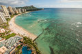 Waikiki beach in hawaii landscape shot of coast line with diamond head crater the distance Stock Photography