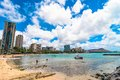 Waikiki beach in Honolulu, Hawaii Royalty Free Stock Photography