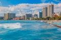 Waikiki beach and Honolulu skyline in Hawaii Royalty Free Stock Photo