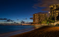 Waikiki beach at night Royalty Free Stock Photo