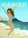 Waikiki beach of Oahu island Royalty Free Stock Photo