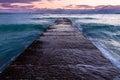 Waikiki breakwater water washing over a on famous beach in honolulu hawaii Stock Photos