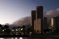 Waikiki at night the sun sets over hawaii Royalty Free Stock Photography