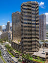 Waikiki skyline condo towers overlooking ala moana boulevard in facing in a northerly direction honolulu visible Stock Photography