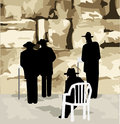 At the wailing wall illustration of four figures of orthodox jews praying Stock Photo