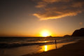 Waimanalo beach at sunrise Stock Image