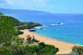 Waimea bay on oahu hawaii a view looking over the famous north shore of Royalty Free Stock Photos