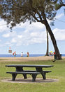 Waimea beach park a picnic table at oahu hawaii Royalty Free Stock Image