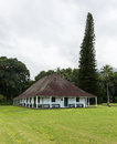 Waioli huiia mission hall in hanalei kauai the old building and with the na pali mountains shrouded mist the background Stock Photos