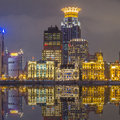 Waitan the landmark shanghai night view historic architecture at lit by lights over huangpu river Stock Image