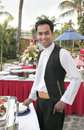Waiter at buffet Royalty Free Stock Photos