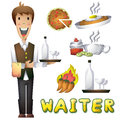 Waiter cartoon with separated layers