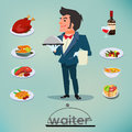 Waiter character design with food and drink set - vector