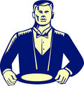 Waiter cravat serving plate woodcut illustration of a wearing holding viewed from front set on white background done in retro Stock Photography