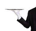 Waiter with empty silver tray Royalty Free Stock Images
