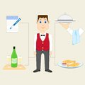 Waiter with food and drink vector illustration of Stock Photos