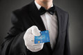Waiter Giving Credit Card Royalty Free Stock Photo