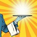 Waiter hand tray presentation