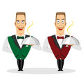 Waiter holding silver serving dome illustration of young smiling cartoon characters of Stock Image