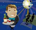 Waiter holds a tray of wine in nightclub Stock Photography