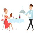 A waiter with a hot dish in the restaurant. Vector illustration on a white background. Flat and cartoon style.