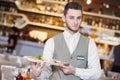 Waiter man in restaurant Royalty Free Stock Photo