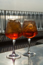 Waiter prepared the Aperol Sprits summer cocktail with Aperol, p Royalty Free Stock Photo