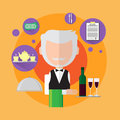 Waiter Senior Man Catering Worker Icon Royalty Free Stock Photo