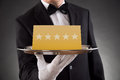 Waiter Serving Star Rating Royalty Free Stock Photo