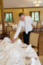 Waiter setting table Royalty Free Stock Photo