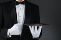 Waiter With Silver Tray Royalty Free Stock Photo