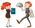 A waiter and a waitress