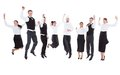 Waiters and waitresses jumping over white background Stock Images
