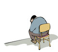 Waiting burdened man sitting in a chair Stock Photography